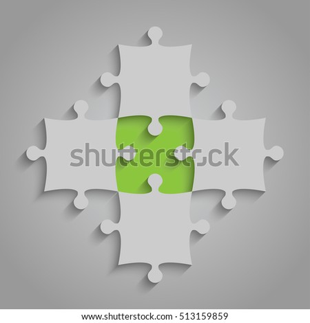 4 Grey and 1 Green Puzzles Pieces Arranged in a Square - JigSaw - Vector Illustration. Blank Template or Cutting Guidelines. Vector Background and Web Design.