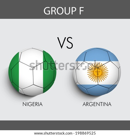 Group F Match Nigeria v/s Argentina countries flags  - stock vector