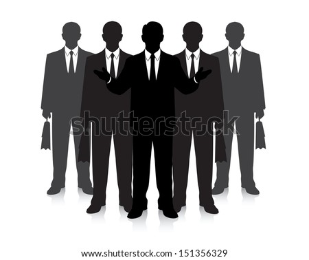 group of businessmen on a white background