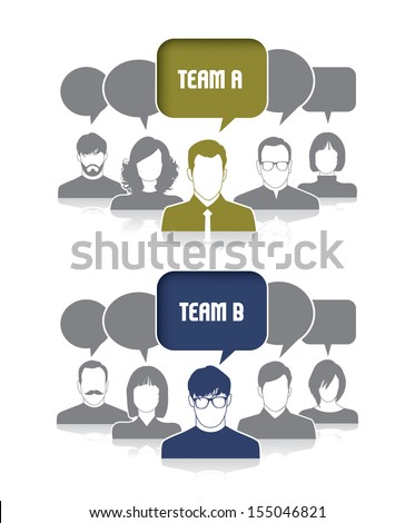 2 groups of people - stock vector