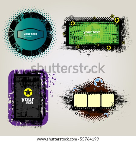 4 Grunge Banner so you can add your own images (vector) - stock vector