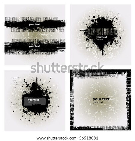 4 Grunge Banner with an inky dribble strip with copy space - stock vector