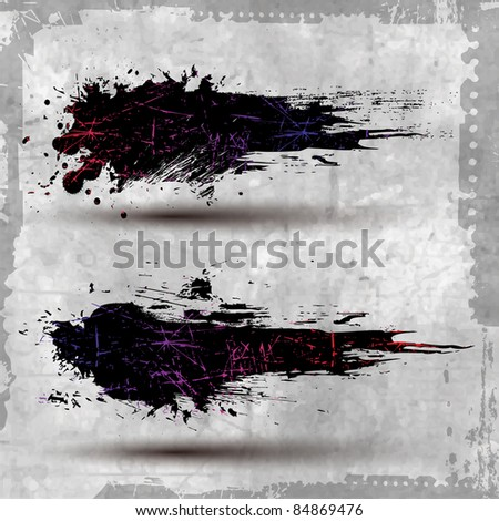 2 Grunge Banner with an inky dribble strip with copy space - stock vector
