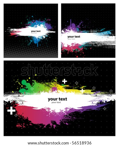 3 Grunge Black Background with a Colorful Rainbow Ink splat effect - stock vector