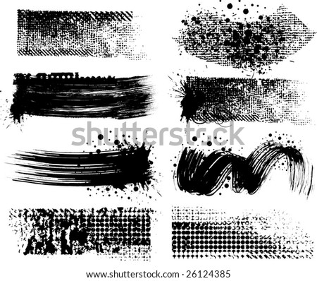 8 Grunge brushes line - stock vector