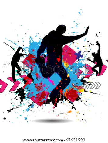 Grunge Dancing boys, the poster - stock vector