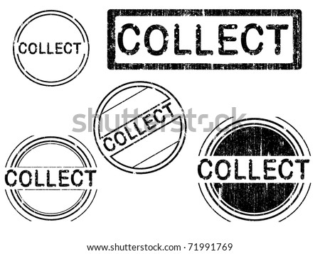 5 Grunge effect Office Stamp with the word COLLECT in a grunge splattered text. (Letters have been uniquely designed and created by hand) - stock vector