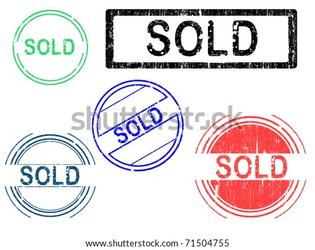 5 Grunge effect Office Stamp with the word SOLD in a grunge splattered text. (Letters have been uniquely designed and created by hand) - stock vector