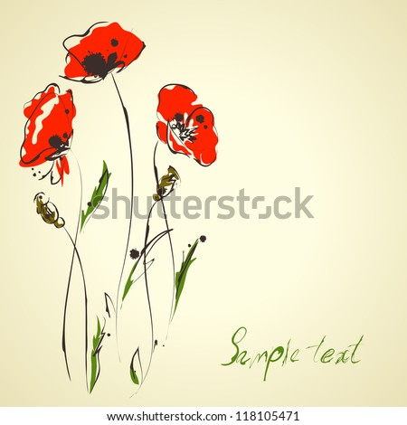 Grunge elegance artistic illustration of red poppies - stock vector