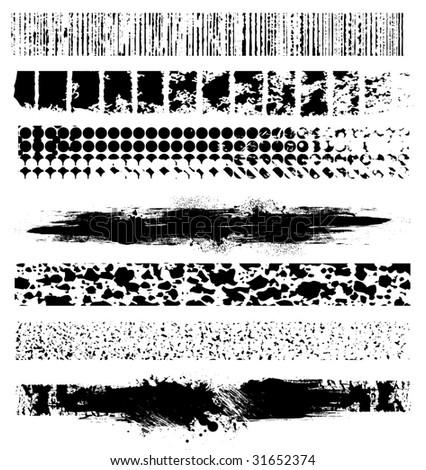 7 Grunge Line Elements vector - stock vector