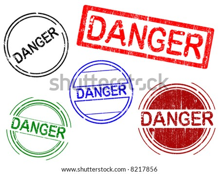 5 Grunge Office Stamps with the word DANGER in a grunge splattered text. (Letters have been uniquely designed and created by hand) - stock vector