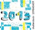 2013 grunge pixel background - stock vector