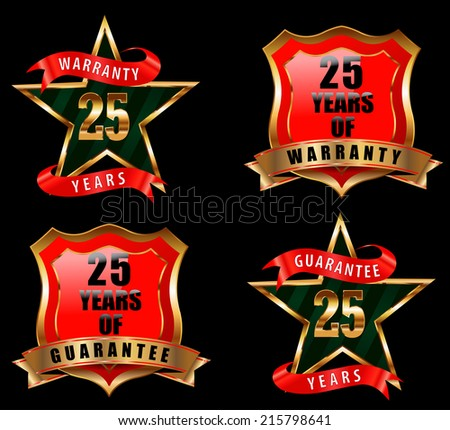 25 guarantee and warranty badge, guarantee sign, warranty label - vector eps 10 - stock vector