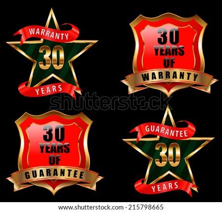 30 guarantee and warranty badge, guarantee sign, warranty label - vector eps 10 - stock vector