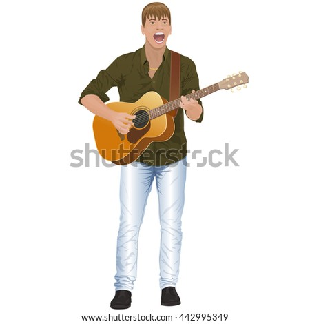 guitarist; people; man; singing; - stock vector