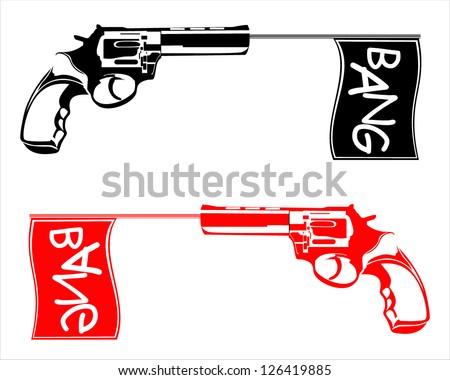 gun shoots a flag bang vector illustration - stock vector
