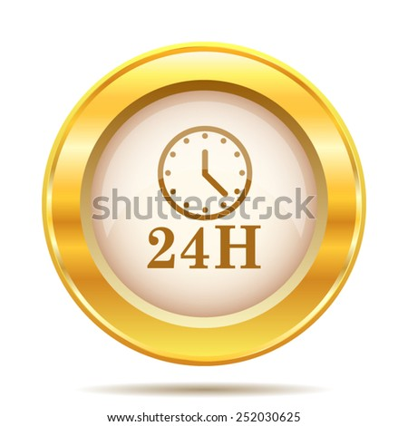 24H clock icon. Internet button on white background. EPS10 vector.  - stock vector