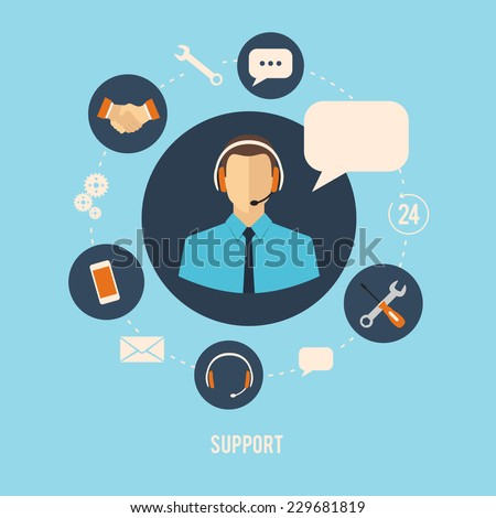 24h customer support center operator service icons concept. vector flat style illustration - stock vector