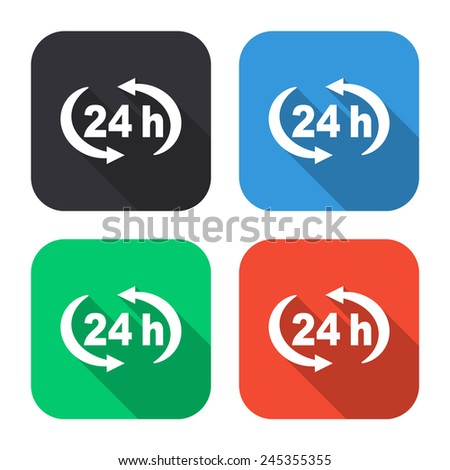 24 h icon - colored illustration (gray, blue, green, red) with long shadow - stock vector