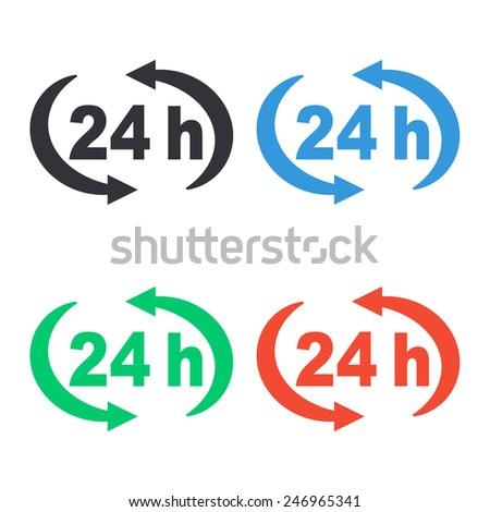 24 h icon - colored vector illustration - stock vector