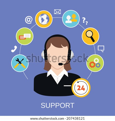 24h online worldwide available customer support helpdesk woman operator service concept vector illustration - stock vector