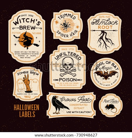 Brand-new Halloween Bottle Labels Potion Labels Vector Stock Vector  MZ37