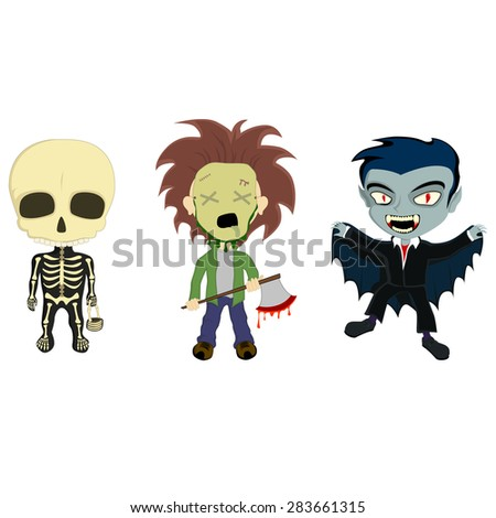 --- Halloween Costume Kids --- A vector illustration of 3 Halloween Costume kids dressed as a Skeleton, an Axe Murderer and a Classic Vampire - stock vector