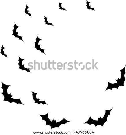 halloween flying bats decoration element scattered stock vector