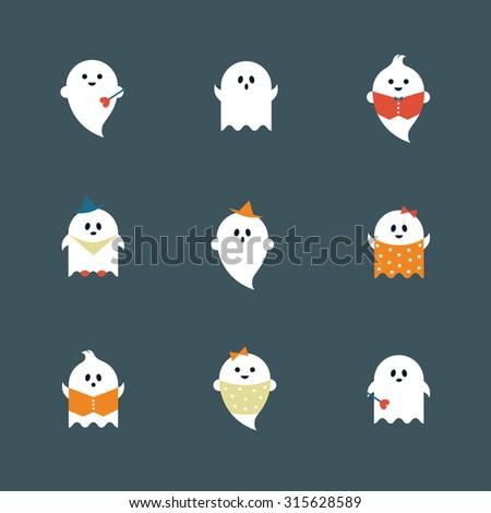 Halloween ghosts flat icons set - stock vector