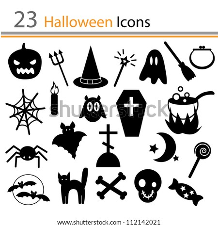 23 Halloween icons (vector)