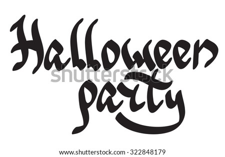 'Halloween party' lettering in gothic-like style. Vector inscription. - stock vector