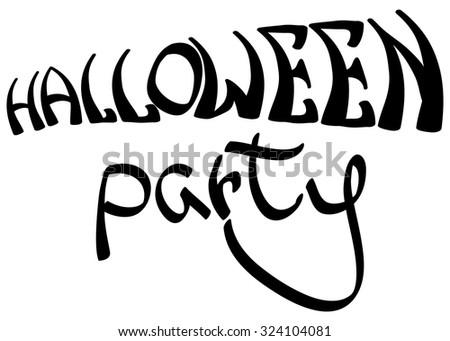 'Halloween party' lettering. Vector inscription. - stock vector