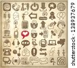 49 hand draw sketch communication element collection on grunge paper background, icons set - stock vector