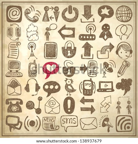 49 hand draw sketch communication element collection on grunge paper background, icons set