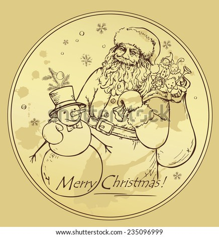 hand draw vector with Santa Claus and snowman - stock vector