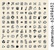 100 hand draw  web icon - stock vector