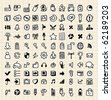 100 hand draw web icons - stock vector