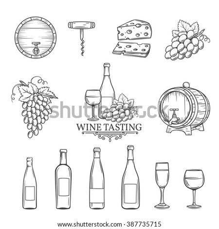Hand draw wine icons set on white. Decorative wine icons . Monochrome icons wine in old style for the design of wine labels cards brochures. Wine vector illustration.  - stock vector