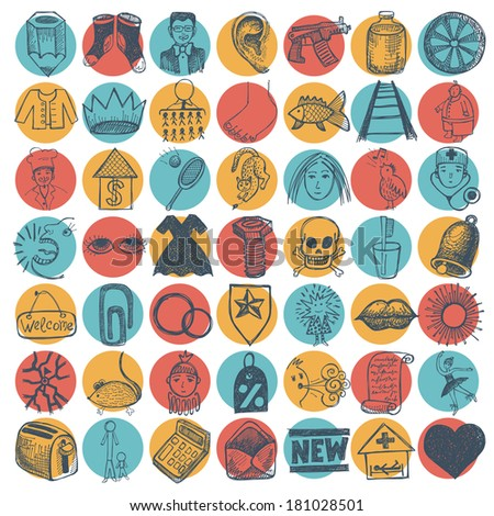 49 hand drawing doodle icon set - stock vector