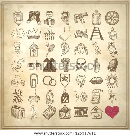 49 hand drawing doodle icon set on grunge background - stock vector