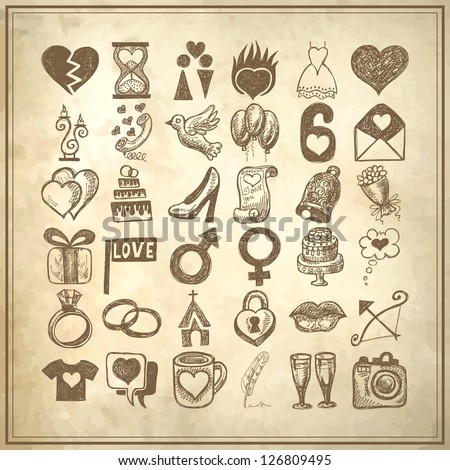 36 hand drawing doodle icon set, wedding sketchy illustration on grunge background - stock vector