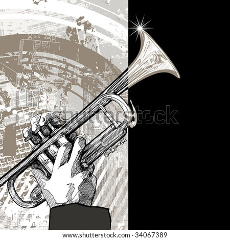 hand drawing vector illustration of a trumpet on grunge background - stock vector