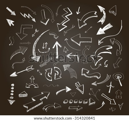 Hand drawn arrows icons set on a chalkboard vector - stock vector