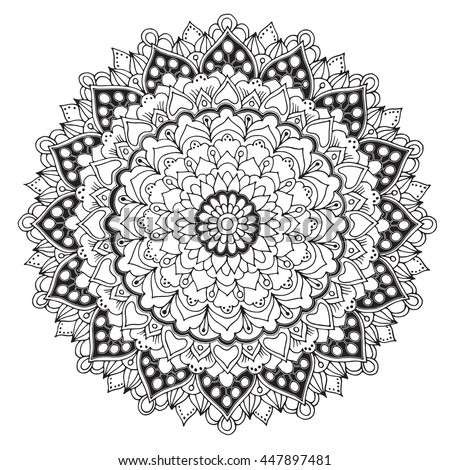 Doodle Pattern Coloring Book Vector Floral Stock Vector