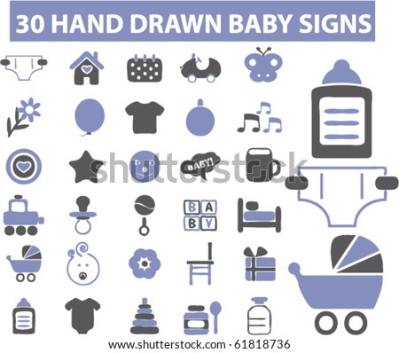 30 hand drawn cute baby signs. vector - stock vector