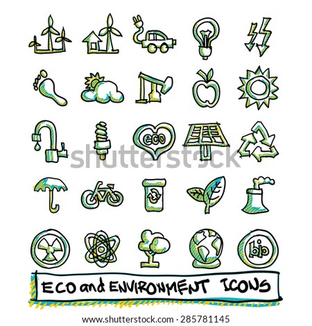 25 hand drawn eco and environment icons collection. Vector format - stock vector