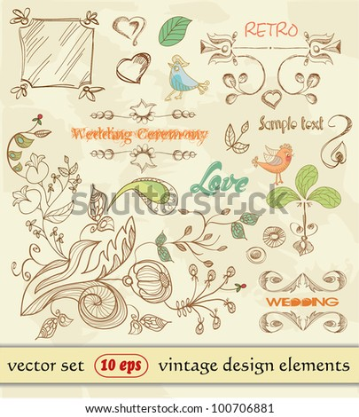 Hand Drawn floral ornaments. vintage design elements. wedding. Love elements - stock vector