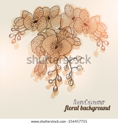 Hand Drawn Flowers Orchid - stock vector