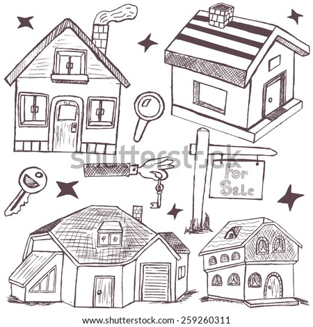 hand drawn homes and real estate icons. - stock vector