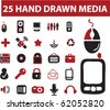 25 hand drawn media signs. vector - stock vector